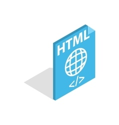 Html file extension icon isometric 3d style vector