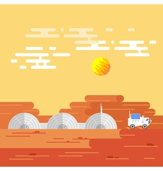 Human base on mars in a daytime vector