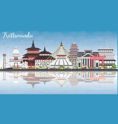 Kathmandu skyline with gray buildings blue sky vector