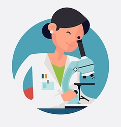 Lady scientist working vector