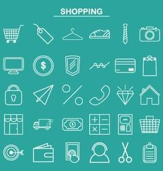 Linear shopping icon for website and app vector image