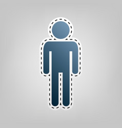Man sign blue icon with vector