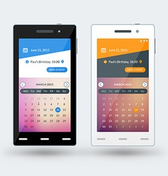 Modern smartphone with calendar app on the screen vector