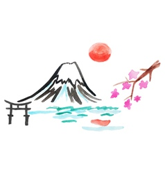 mount Fuji and sakura in Japan vector image vector image