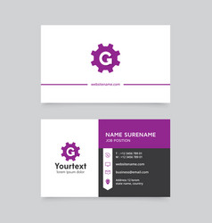 purple color modern business card design vector image