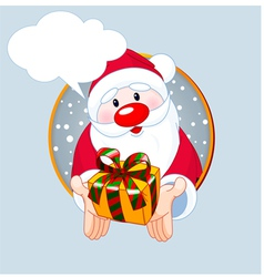 Santa giving a gift vector image