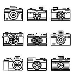 Set of outline camera icon vector