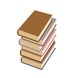 Stack books on white background vector image