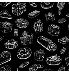 Sweet pastries on chalkboard vector