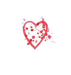 watercolor heart on white background vector image vector image