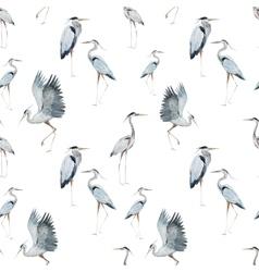Watercolor heron pattern vector