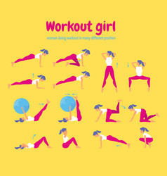 woman workout fitness set of gym icons on yellow vector image