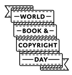 World book and copyright day greeting emblem vector