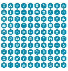 100 holidays family icons sapphirine violet vector image vector image