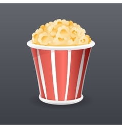 Realistic popcorn fast food icon retro cartoon vector