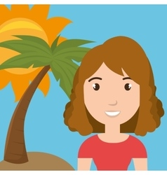 Woman palm sun travel vector