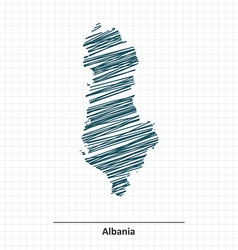 Doodle sketch of albania map vector