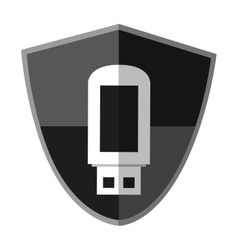 Isolated usb inside shield design vector