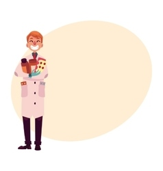 Funny pharmacist in lab coat holding many pills vector