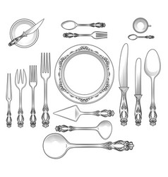 Top view empty table dish vector