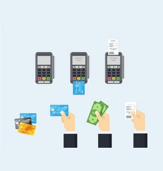 pos terminal and credit card processing - vector image