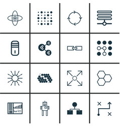 Set of 16 robotics icons includes lightness mode vector