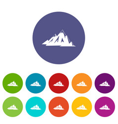 Canadian mountains icons set flat vector
