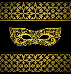 Gold carnival mask with luxury background vector