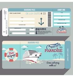 Cruises to paradise boarding pass design vector