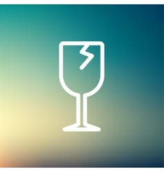Broken glass wine thin line icon vector