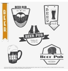 Beer pub set brewing typographic labels logos vector