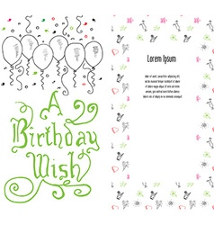 Hand drawn birthday greeting card party background vector