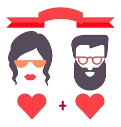 Hipster man and woman love card vector