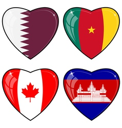Set of images of hearts with the flags of Cambodia vector image
