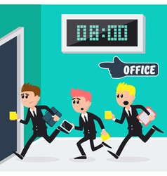 Workers running to office businessmen vector