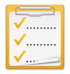 Clipboard with checklist icon vector