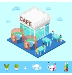 Isometric city city cafe with tables and people vector