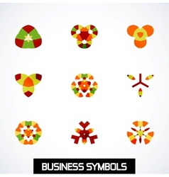 Abstract geometric business symbols Icon set vector image