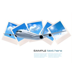 Background with airline and photos with sky vector image