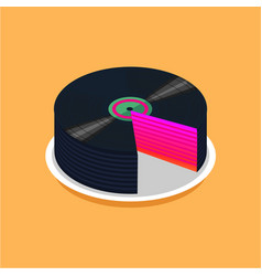 Birthday cake and vinyl disc collection vintage vector