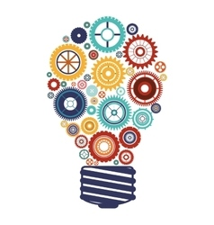 bulb with gears and idea focus vector image