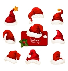 Christmas Santa red hat and cap cartoon icon set vector image