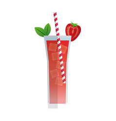 Cocktail strawberry mint drink beverage with vector