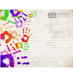 colorful handprint design vector image vector image