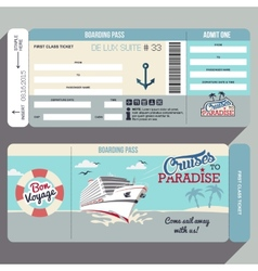 Cruises to paradise boarding pass design vector