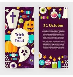 Flyer Template of Flat Design Halloween Trick or vector image vector image