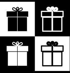 Gift sign black and white icons and line vector
