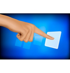hand touching a button vector image vector image