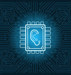Human ear icon on chip over blue circuit vector