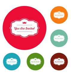 Invated label icons circle set vector